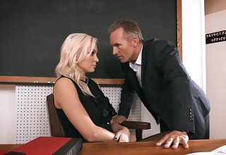 Sexy teacher gets laid on every side class and on every side the end jizzed on face